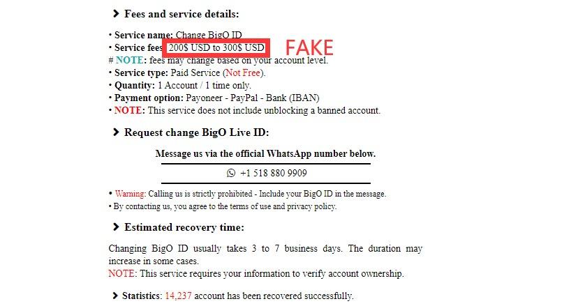 Fake BIGO Website