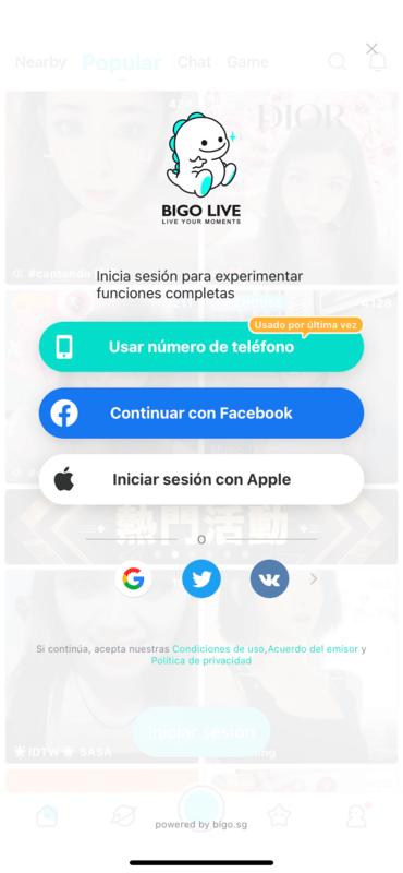 Cómo Iniciar Sesión en la Aplicación Bigo Live en un Dispositivo móvil